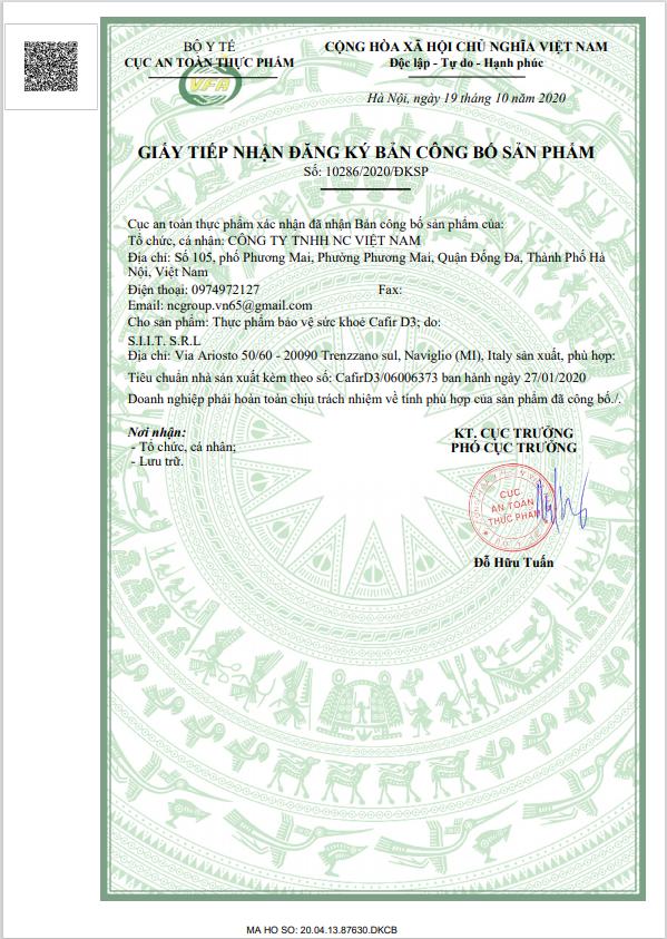 Công bố Canxi Cafir D3